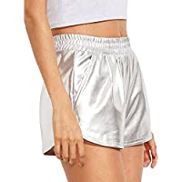 RoxZoom Women's Casual Shorts, Soft Stretchy High Waisted Solid Color Pockets Shorts Yoga Hot Shorts Pants, Silver
