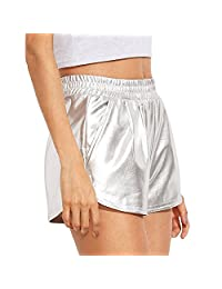 RoxZoom Women's Casual Shorts, Soft Stretchy High Waisted Solid Color Pockets Shorts