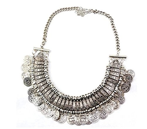 Lanue Chunky Punk Tribal Retro Antique Silver Gold Coins Plated Alloy Bib Choker Necklace (color 2)
