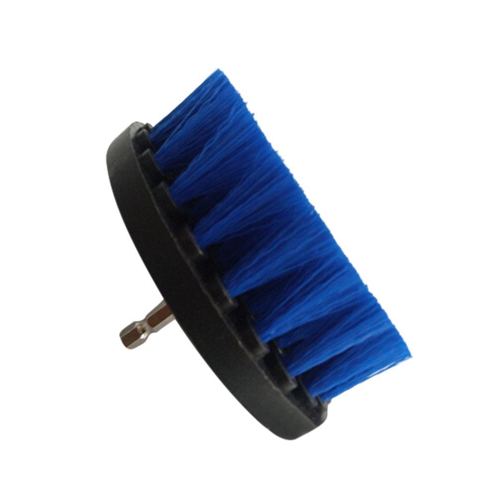 1pc:bleu 4 Brosse Rond avec Tige Hexagonale sadapte aux Perceuses Electrique sans fil Nettoyant pour Pneu Voiture Salle de Bain Cuisine Carrelage Meubles Brosse Perceuse Nettoyage