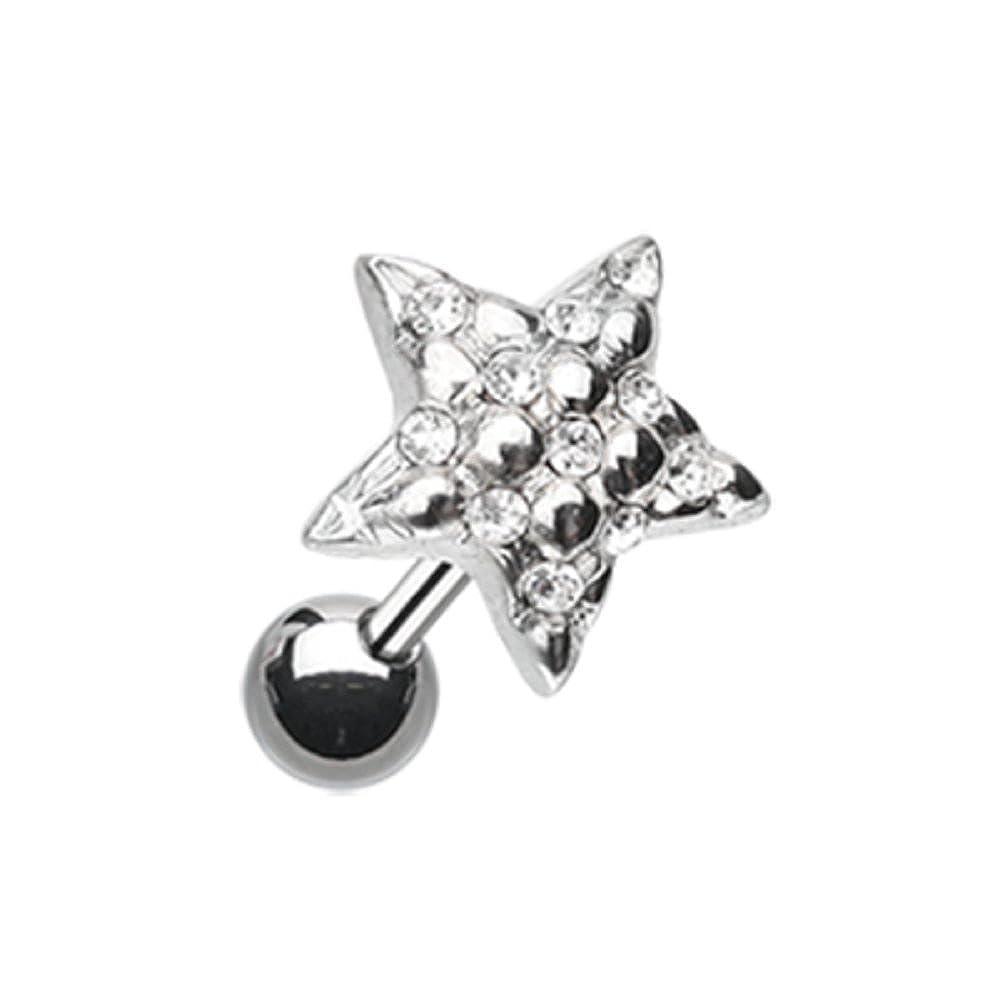 Sold Individually Freedom Fashion Fluffy Star Multi-Gem Surgical Steel Tragus Earring