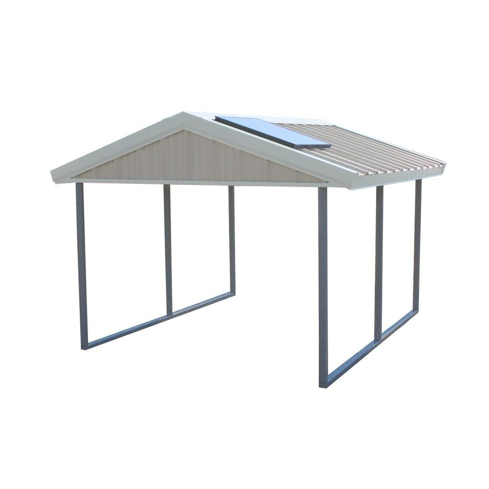 Premium Canopy 12 ft. x 20 ft. Ash Grey and Polar White All Steel Carport Structure with Durable Galvanized Frame