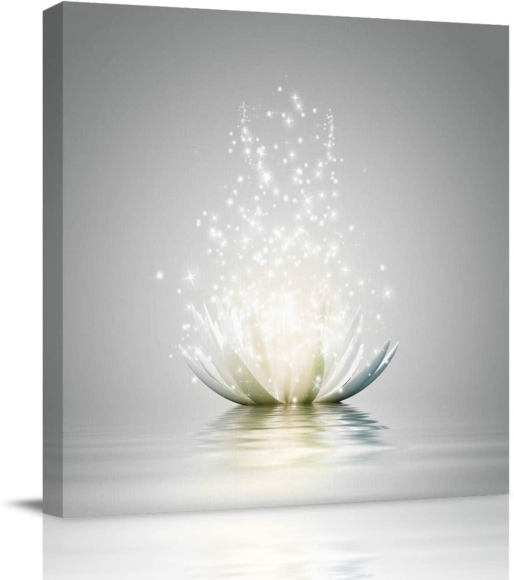 HIYPLAY Canvas Wall Art White Lotus Flower Meditation Picture Modern Artwork Printed on Canvas - Oil Painting for Wall Decor - Stretched and Framed Ready to Hang(12