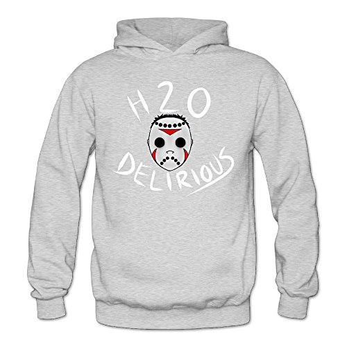 Caili Women's H2O Delirious YouTube Game Logo Hooded Sweatshirts S Ash (Buck Suede Shirt)