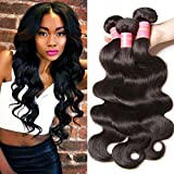 Longqi Beauty Hair Brazilian Body Wave Virgin Hair 3 Bundles Unprocessed Virgin Brazilian Wavy Human Hair Weave Extensions Natural Color 95-100g/pc (14 16 18inch) For Sale