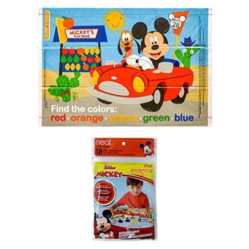 """Disney Mickey Mouse Table Topper Disposable Stick-on Placemats in Reusable Package, 12"""" x 18"""", 18 Count"""