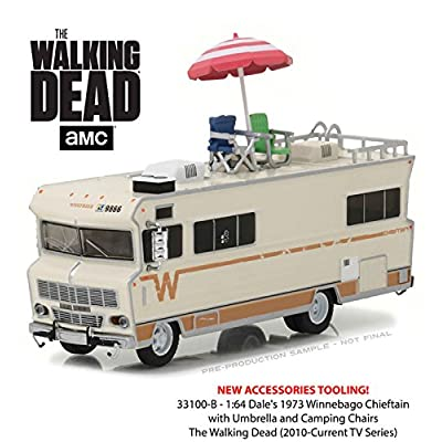 New 1:64 GREENLIGHT COLLECTION - H-D TRUCKS SERIES 10 - The Walking Dead - Beige 1973 Winnebago Chieftain with Accessories Diecast Model Car By Greenlight: Toys & Games