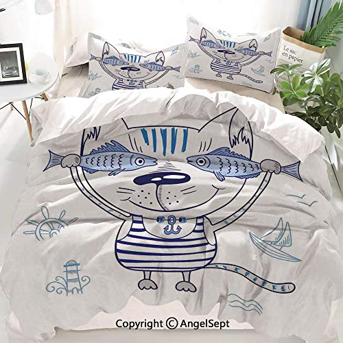 Homenon Ocean Animal Decor Decor Duvet Cover Set Full Size,Naughty Cat with Fish in Striped T Shirt Anchor Pendant and Nautical Sign,Decorative 3 Piece Bedding Set with 1 Pillow Shams