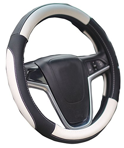 Mayco Bell Car Steering Wheel Cover 15 Inches Comfort Durability Safety (Black White)