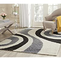 Safavieh Art Shag Collection SG915-1280 Ivory and Grey Area Rug (4 x 6)