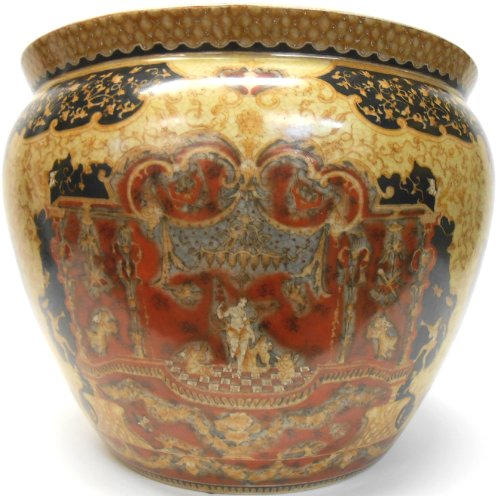 Golden Goddess Porcelain Fish Bowl 24