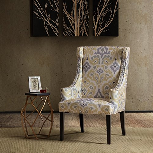 High Wingback Double Nailhead Trim Upholstered Yellow and Gray Print Accent Chair - Includes ModHaus Living Pen (Yellow Wingback Chair)