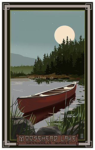 Moosehead Lake Greenville Maine Canoe in Moonlight Travel Art Print Poster by Mike Rangner (12