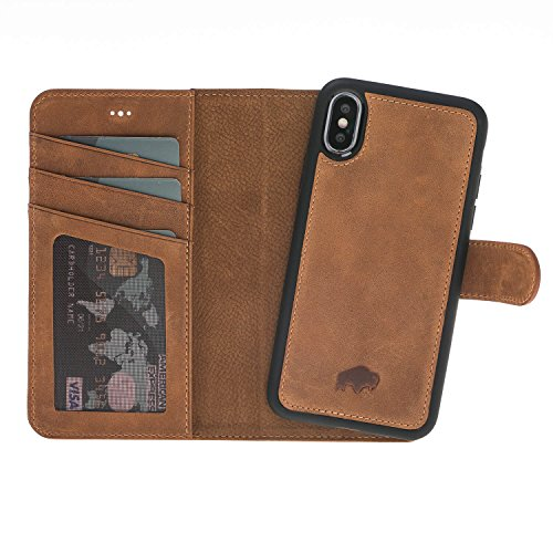Burkley Magnetic Detachable Leather Wallet Case for iPhone X