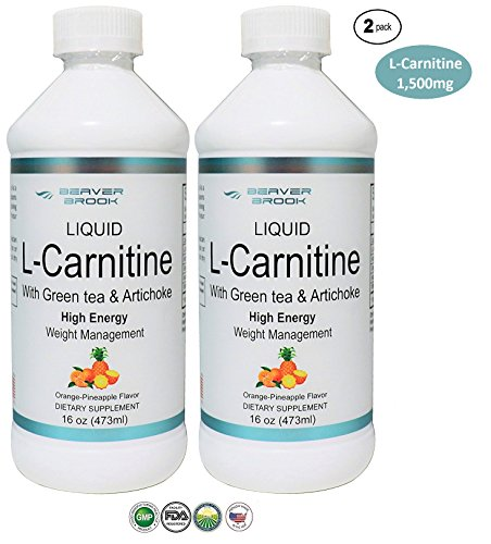 Beaver Brook L-Carnitine 1,500mg with Green Tea & Artichoke Dietary Supplement for High Energy and Weight Management - Orange Pineapple - 2 Pack by Beaver Brook