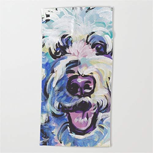 Feesoz Golden Doodle Dog Portrait Pop Art Painting Beach Towel 31x51 Inches