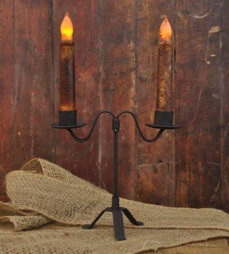 Double Holder Candlestick - Colonial Double Taper Candle Holder in Black Wrought Iron