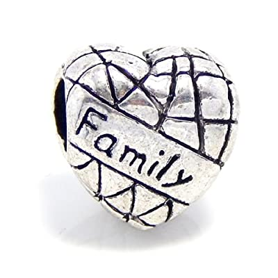 Antiqued Silver Family on Heart Bead Charm