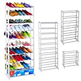 Kepteen Adjustable 3/5/8 Tier Metal Shoe Rack Utility Shoe Organizer Shelf for Closet Bedroom & Entryway Bronze [US STOCK] (White)