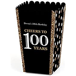 Big Dot of Happiness Personalized Adult 100th Birthday - Gold - Custom Birthday Party Favor Popcorn Treat Boxes - Custom Text - Set of 12