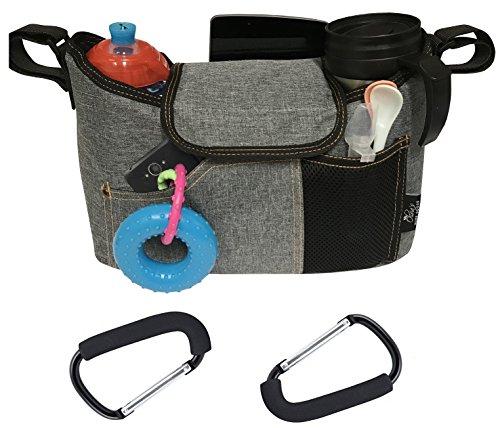 OLIVIA & AIDEN Stroller Bag Set - Universal Fit Durable Multi Pocket Stroller Organizer Bag and 2 Stroller Bag Hooks - Stroller Diaper Bag Set