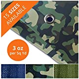 Tarps Waterproof   Ground Tent Trailer Cover   Large Tarpaulin in Multiple Sizes   3 oz/Sq Yd   Camo 16' x 20'