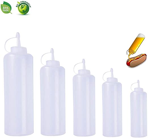 Nice 32oz Clear Plastic Squeeze Bottle Condiment Dispenser Ketchup Mustard Sauce