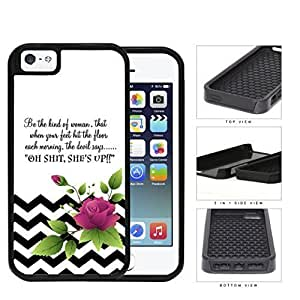 Be The Kind of Woman Inspirational Quote with Black and White Chevron Pattern and Pink Flower Vector 2-Piece High Impact Dual Layer Black Silicone Cell Phone Case iPhone i5 5s