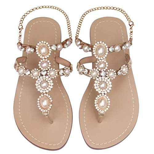 Mayou Women's Rhinestone Flat Sandals, Women Flip Flops with Beadeed Rhinestone Crystal Jeweled Sandal Shoes for Summer Beach Oceanside Holiday Outdoor (9.5-10 M US, Nude)
