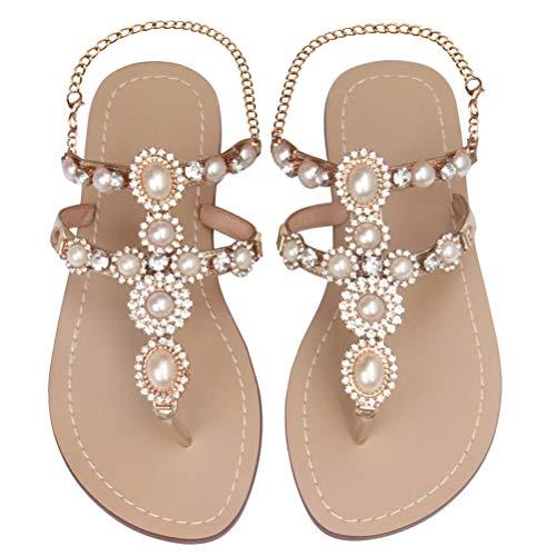 (Mayou Women's Rhinestone Flat Sandals, Women Flip Flops with Beadeed Rhinestone Crystal Jeweled Sandal Shoes for Summer Beach Oceanside Holiday Outdoor (7.5 M US, Nude))