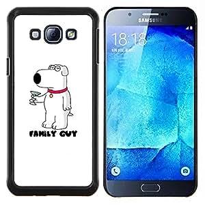 LECELL--Funda protectora / Cubierta / Piel For Samsung Galaxy A8 A8000 -- Perro Historieta blanco Martini Carácter --