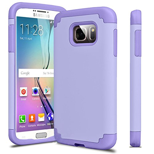 J.west Slim Soft Flexible Silicone Inner Layer Dual Layer Hybrid Shock Absorbing Impact Resist Anti-fingerprints Texture Grip Case Cover for Samsung Galaxy S7 Edge - Purple Minimal Effort Christmas Lights