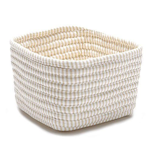 Ticking Shelf Storage Square Basket, 11 by 11 by 8-Inch, Canvas