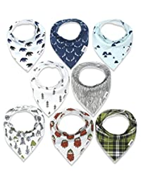 Baby Bandana Drool Bibs for Boys, Super Absorbent Organic Teething Bib Cotton 8-Pack (Woodland) BOBEBE Online Baby Store From New York to Miami and Los Angeles