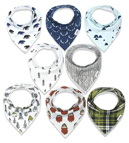 Baby Bandana Drool Bibs for Boys, Super Absorbent Organic Cotton 8-Pack (Woodland)