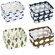 Lannu Pack 4 Home Decor Fabric Storage Bins Basket Cloth Cotton Linen Blend Collapsible Box Organizers Baskets liner Shelves , 7.8×6.3×5.1 inch
