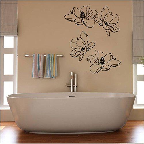 (Magnolia Flowers Silhouette Vinyl Wall Decal Sticker)