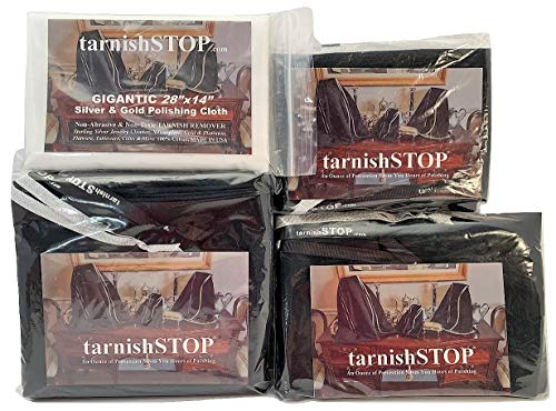 15.00 Savings, tarnishSTOP, Bundle (3) Anti-Tarnish Prevention Cloth Storage Bags (Small, Medium and Large) + (1) Gigantic Silver Polishing Cloth For Silverplate & Sterling Silver Collections, Black