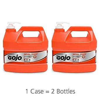 GOJO 0955 – 02 – Limpiador de mano naranja piedra pómez Natural, (1 Galón