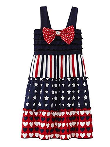 Youngland Infant Toddler Girls Patriotic Stars Stripes Dress Heart Sundress 3T Blue