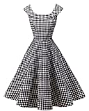 LaceLady BoatNeck Vintage Sleeveless Tea Dress with Belt Pleated Swing Party 20S