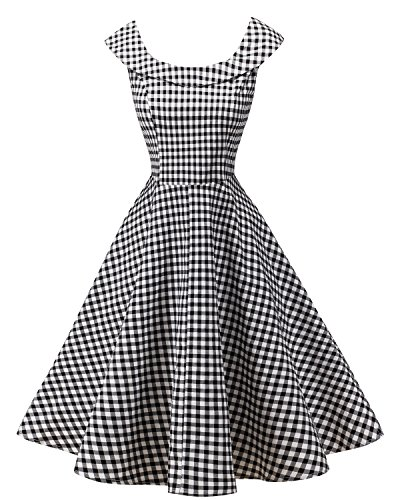 LaceLady BoatNeck Vintage Sleeveless Tea Dress with Belt Pleated Swing Party 20M