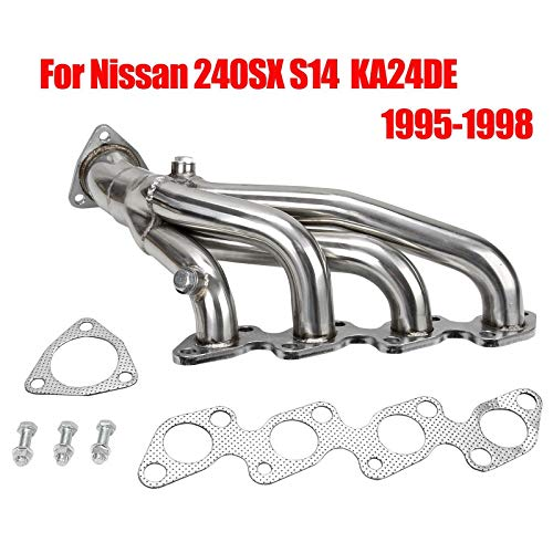 (Racing Performance Short Exhaust Manifold Header Stainless Steel 4-1 Design for Nissan 240SX S14 1995-1998 KA24DE)