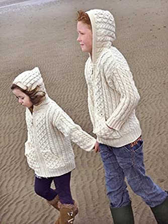 100% Merino Wool Aran Crafts Children's Hooded Zip Cardigan With Pockets Ecru Carraig Donn