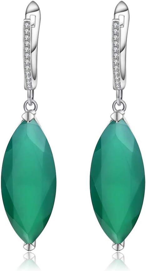 D&XQX Pendientes de la Piedra Preciosa Verde Natural 22.90Ct ágata 925 Pendientes de Plata de Ley para la Mujer joyería Fina