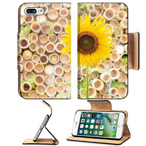 Luxlady Premium Apple iPhone 7 Plus Flip Pu Leather Wallet Case iPhone7 Plus 22774257 sunflower on bamboo logs background