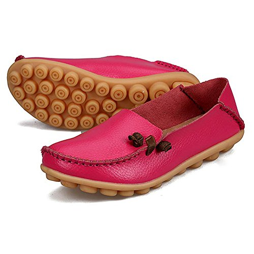 Damen Casual Mokassin Bootsschuhe Slip on Loafers Slipper Flats Erbsenschuhe Rose