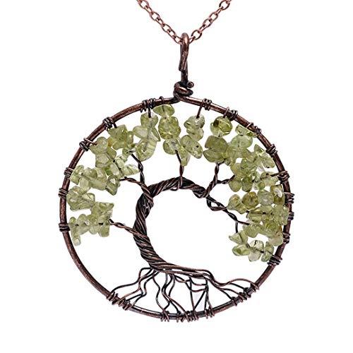 Pendant Necklace Copper Crystal Natural Stone Necklace Quartz Stones Pendants Women Christmas Gift Peridot