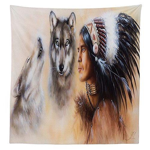vipsung Native American Decor Tablecloth Blur Mystic Painting of Young Indian Man in Ethnic Feather with Wolves Ancient Print Dining Room Kitchen Rectangular Table Cover