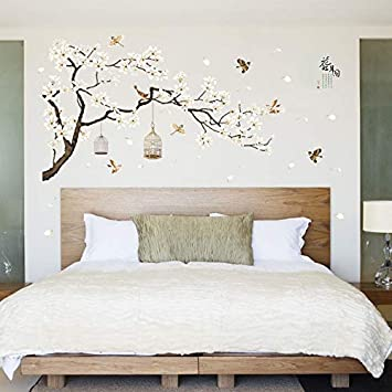 b6213d58b5 187 * 128Cm Big Size Tree Wall Stickers Birds Flower Home Decor Wallpapers  for Living Room Bedroom DIY Vinyl Rooms Decoration: Amazon.co.uk: Kitchen &  Home